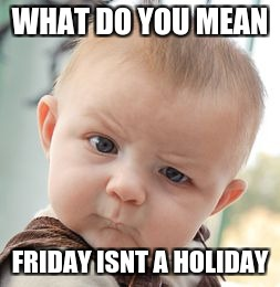 Skeptical Baby Meme | WHAT DO YOU MEAN FRIDAY ISNT A HOLIDAY | image tagged in memes,skeptical baby | made w/ Imgflip meme maker