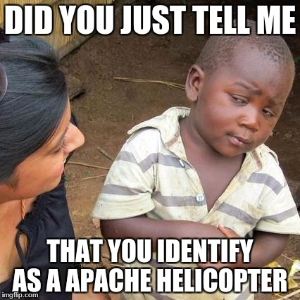 Third World Skeptical Kid Meme | DID YOU JUST TELL ME THAT YOU IDENTIFY AS A APACHE HELICOPTER | image tagged in memes,third world skeptical kid | made w/ Imgflip meme maker