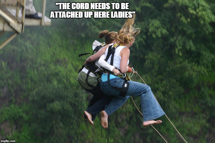 """THE CORD NEEDS TO BE ATTACHED UP HERE LADIES"" 
