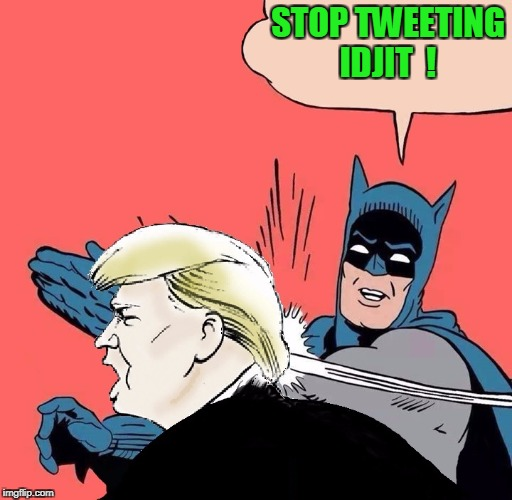 Batman slaps Trump | STOP TWEETING IDJIT  ! | image tagged in batman slaps trump | made w/ Imgflip meme maker