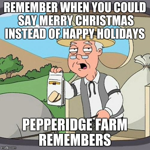 Pepperidge Farm Remembers Meme | REMEMBER WHEN YOU COULD SAY MERRY CHRISTMAS INSTEAD OF HAPPY HOLIDAYS PEPPERIDGE FARM REMEMBERS | image tagged in memes,pepperidge farm remembers | made w/ Imgflip meme maker