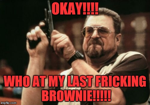 Am I The Only One Around Here Meme | OKAY!!!! WHO AT MY LAST FRICKING BROWNIE!!!!! | image tagged in memes,am i the only one around here | made w/ Imgflip meme maker