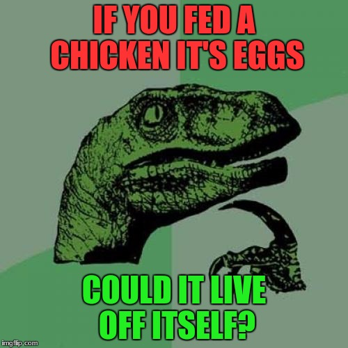 This one's been bugging me for awhile! | IF YOU FED A CHICKEN IT'S EGGS COULD IT LIVE OFF ITSELF? | image tagged in memes,philosoraptor | made w/ Imgflip meme maker