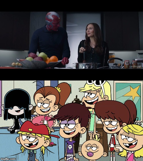 Loud sisters watch Vision and Wanda  | image tagged in the loud house,avengers,nickelodeon,marvel,in love | made w/ Imgflip meme maker
