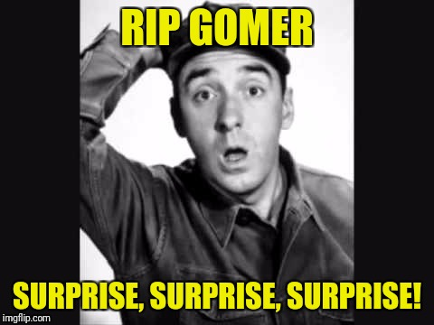 Sergeant Carter will be pissed! | RIP GOMER SURPRISE, SURPRISE, SURPRISE! | image tagged in gomer pyle usmc | made w/ Imgflip meme maker