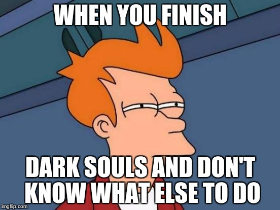 Futurama Fry Meme | WHEN YOU FINISH DARK SOULS AND DON'T KNOW WHAT ELSE TO DO | image tagged in memes,futurama fry | made w/ Imgflip meme maker