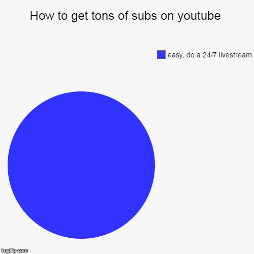 How to get tons of subs on youtube | easy, do a 24/7 livestream | image tagged in funny,pie charts | made w/ Imgflip pie chart maker