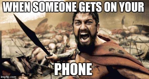 Sparta Leonidas Meme | WHEN SOMEONE GETS ON YOUR PHONE | image tagged in memes,sparta leonidas | made w/ Imgflip meme maker
