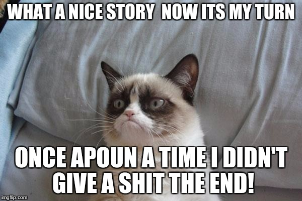Grumpy Cat Bed Meme | WHAT A NICE STORY  NOW ITS MY TURN ONCE APOUN A TIME I DIDN'T GIVE A SHIT THE END! | image tagged in memes,grumpy cat bed,grumpy cat | made w/ Imgflip meme maker