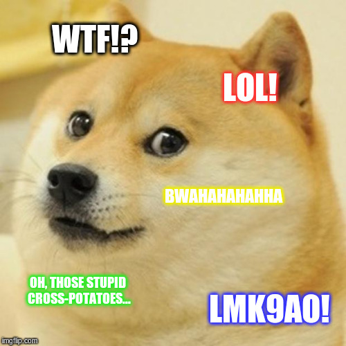 Doge Meme | WTF!? LOL! BWAHAHAHAHHA OH, THOSE STUPID CROSS-POTATOES... LMK9AO! | image tagged in memes,doge | made w/ Imgflip meme maker