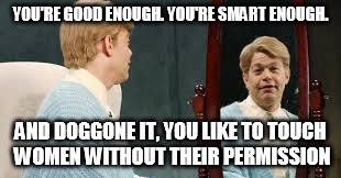 TOUCHY STUART | YOU'RE GOOD ENOUGH. YOU'RE SMART ENOUGH. AND DOGGONE IT, YOU LIKE TO TOUCH WOMEN WITHOUT THEIR PERMISSION | image tagged in al franken,stuart smalley,metoo | made w/ Imgflip meme maker