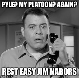 Gomer goes home | PYLE? MY PLATOON? AGAIN? REST EASY JIM NABORS | image tagged in sgt carter | made w/ Imgflip meme maker