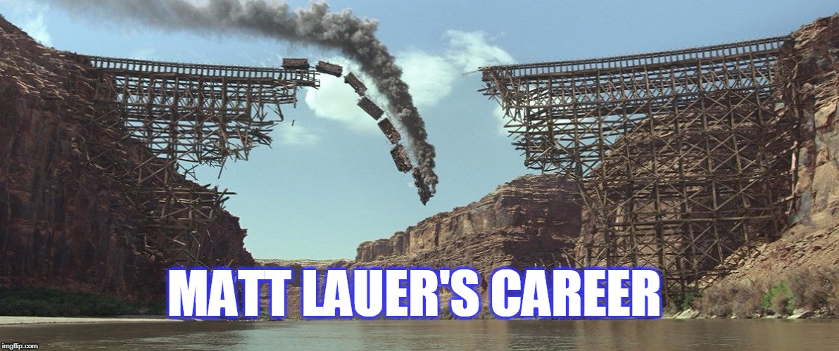 Train Wreck |  MATT LAUER'S CAREER | image tagged in train,matt lauer,career,hypocrite | made w/ Imgflip meme maker