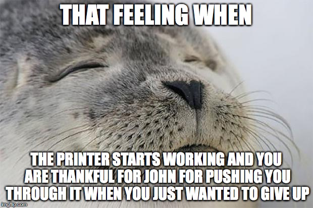 Satisfied Seal Meme | THAT FEELING WHEN THE PRINTER STARTS WORKING AND YOU ARE THANKFUL FOR JOHN FOR PUSHING YOU THROUGH IT WHEN YOU JUST WANTED TO GIVE UP | image tagged in memes,satisfied seal | made w/ Imgflip meme maker