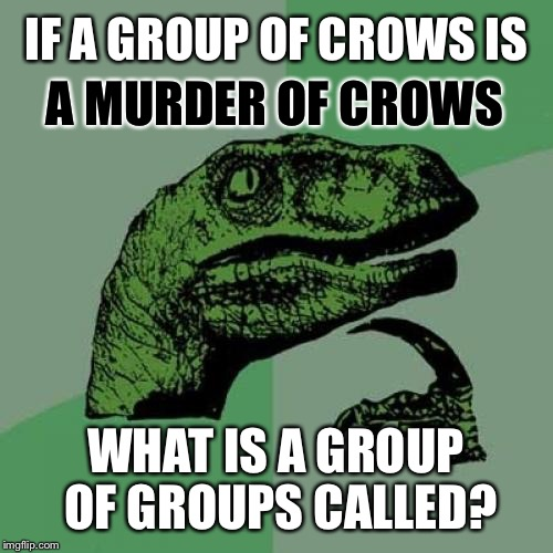 Philly Raptor  | IF A GROUP OF CROWS IS WHAT IS A GROUP OF GROUPS CALLED? A MURDER OF CROWS | image tagged in memes,philosoraptor,crow,bad pun crow,ravens | made w/ Imgflip meme maker