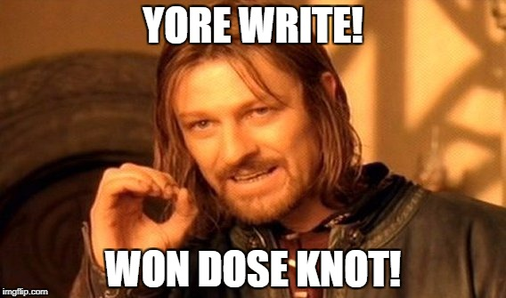 One Does Not Simply Meme | YORE WRITE! WON DOSE KNOT! | image tagged in memes,one does not simply | made w/ Imgflip meme maker