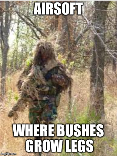 Airsoft Ghillie | AIRSOFT WHERE BUSHES GROW LEGS | image tagged in airsoft,ghillie,sniper,call of duty | made w/ Imgflip meme maker