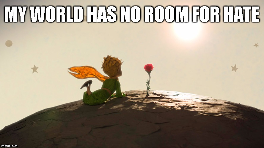 MY WORLD HAS NO ROOM FOR HATE | image tagged in the little prince | made w/ Imgflip meme maker