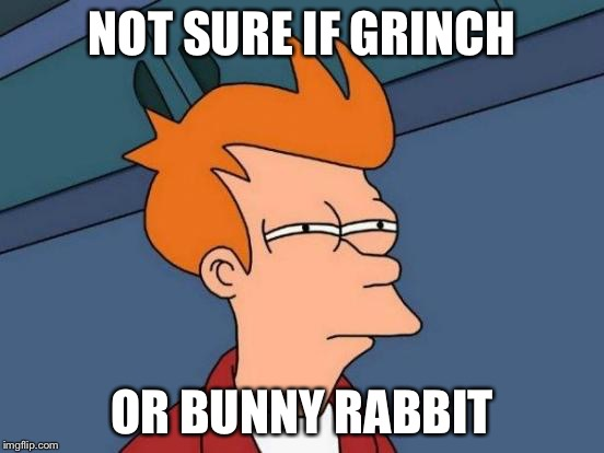Futurama Fry Meme | NOT SURE IF GRINCH OR BUNNY RABBIT | image tagged in memes,futurama fry | made w/ Imgflip meme maker
