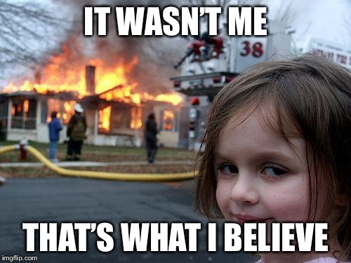 Disaster Girl Meme | IT WASN'T ME THAT'S WHAT I BELIEVE | image tagged in memes,disaster girl | made w/ Imgflip meme maker