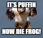 IT'S PUFFIN NOW DIE FROG! | made w/ Imgflip meme maker