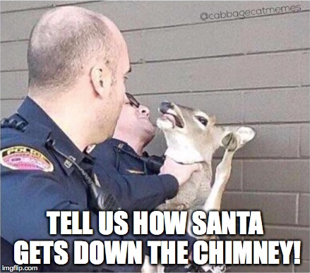 the day after santa was accused... | TELL US HOW SANTA GETS DOWN THE CHIMNEY! | image tagged in christmas,police,santa,one does not simply,sexual harassment,pedobear | made w/ Imgflip meme maker