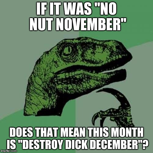"Happy fapping! | IF IT WAS ""NO NUT NOVEMBER"" DOES THAT MEAN THIS MONTH IS ""DESTROY DICK DECEMBER""? 