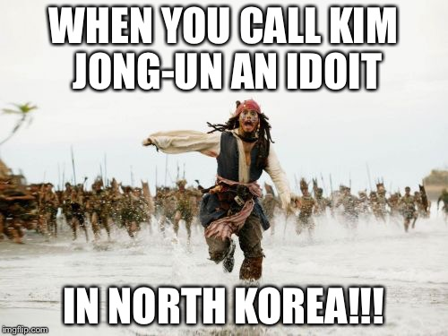 Jack Sparrow Being Chased Meme | WHEN YOU CALL KIM JONG-UN AN IDOIT IN NORTH KOREA!!! | image tagged in memes,jack sparrow being chased | made w/ Imgflip meme maker