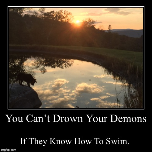 You Can't Drown Your Demons | If They Know How To Swim. | image tagged in funny,demotivationals,dog,meme | made w/ Imgflip demotivational maker