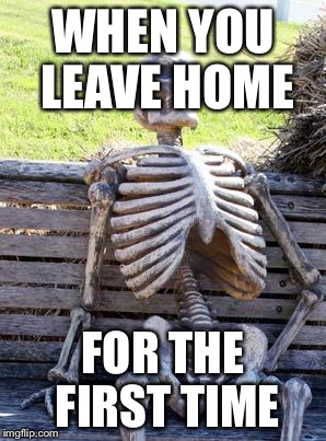 Waiting Skeleton Meme | WHEN YOU LEAVE HOME FOR THE FIRST TIME | image tagged in memes,waiting skeleton | made w/ Imgflip meme maker
