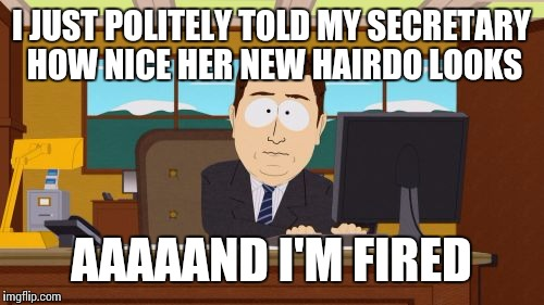 Aaaaand Its Gone Meme | I JUST POLITELY TOLD MY SECRETARY HOW NICE HER NEW HAIRDO LOOKS AAAAAND I'M FIRED | image tagged in memes,aaaaand its gone | made w/ Imgflip meme maker