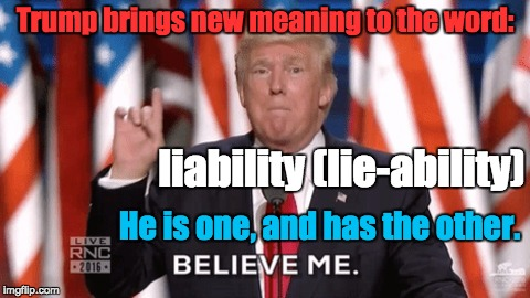Donald J. Trump | Trump brings new meaning to the word: He is one, and has the other. liability (lie-ability) | image tagged in liar,unfit | made w/ Imgflip meme maker