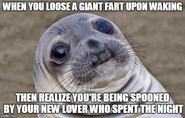 Oops | WHEN YOU LOOSE A GIANT FART UPON WAKING THEN REALIZE YOU'RE BEING SPOONED BY YOUR NEW LOVER WHO SPENT THE NIGHT | image tagged in memes,awkward moment sealion,relationships,fart,embarassing | made w/ Imgflip meme maker