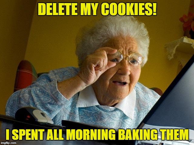 Grandma Finds The Internet |  DELETE MY COOKIES! I SPENT ALL MORNING BAKING THEM | image tagged in memes,grandma finds the internet | made w/ Imgflip meme maker