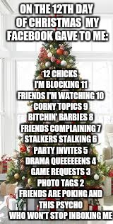 On the 12th day of Christmas my FaceBook gave to me... | ON THE 12TH DAY OF CHRISTMAS  MY FACEBOOK GAVE TO ME: 12 CHICKS I'M BLOCKING11 FRIENDS I'M WATCHING10 CORNY TOPICS9 B**CHIN' BARBIES8 FR | image tagged in funny,poem,christmas | made w/ Imgflip meme maker