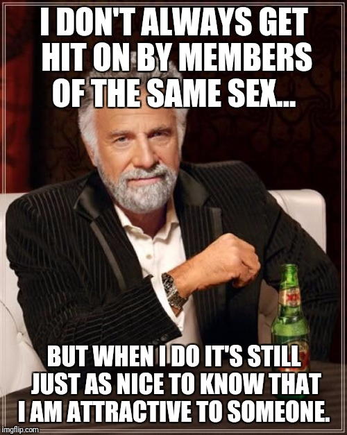 The Most Interesting Man In The World Meme | I DON'T ALWAYS GET HIT ON BY MEMBERS OF THE SAME SEX... BUT WHEN I DO IT'S STILL JUST AS NICE TO KNOW THAT I AM ATTRACTIVE TO SOMEONE. | image tagged in memes,the most interesting man in the world | made w/ Imgflip meme maker
