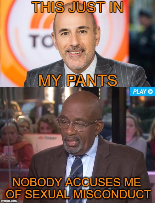 Yesterday on Tomorrow's Today Live   | THIS JUST IN NOBODY ACCUSES ME OF SEXUAL MISCONDUCT MY PANTS | image tagged in al roker,matt lauer,today,memes,funny,sexual assault | made w/ Imgflip meme maker