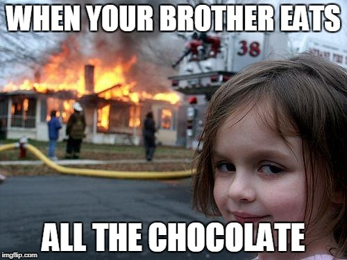 Disaster Girl Meme | WHEN YOUR BROTHER EATS ALL THE CHOCOLATE | image tagged in memes,disaster girl | made w/ Imgflip meme maker
