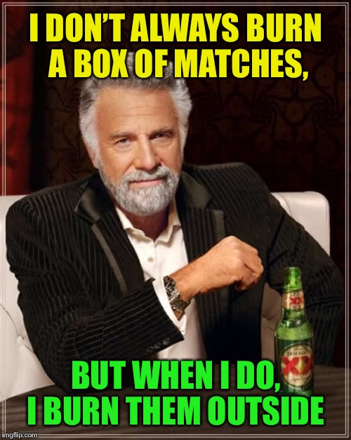 The Most Interesting Man In The World Meme | I DON'T ALWAYS BURN A BOX OF MATCHES, BUT WHEN I DO, I BURN THEM OUTSIDE | image tagged in memes,the most interesting man in the world | made w/ Imgflip meme maker