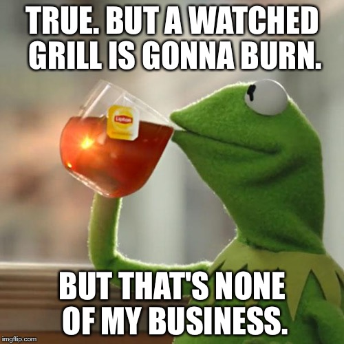 But Thats None Of My Business Meme | TRUE. BUT A WATCHED GRILL IS GONNA BURN. BUT THAT'S NONE OF MY BUSINESS. | image tagged in memes,but thats none of my business,kermit the frog | made w/ Imgflip meme maker