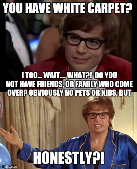 I try to keep a clean home, but, white carpet?! | YOU HAVE WHITE CARPET? HONESTLY?! I TOO... WAIT.... WHAT?!  DO YOU NOT HAVE FRIENDS, OR FAMILY WHO COME OVER? OBVIOUSLY NO PETS OR KIDS, BUT | image tagged in i too like to live dangerously,austin powers honestly,white carpet | made w/ Imgflip meme maker