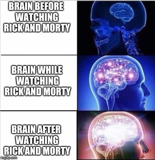 BRAIN BEFORE WATCHING RICK AND MORTY BRAIN AFTER WATCHING RICK AND MORTY BRAIN WHILE WATCHING RICK AND MORTY | image tagged in expanded woke 3 mind brain | made w/ Imgflip meme maker