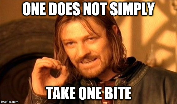 One Does Not Simply Meme | ONE DOES NOT SIMPLY TAKE ONE BITE | image tagged in memes,one does not simply | made w/ Imgflip meme maker