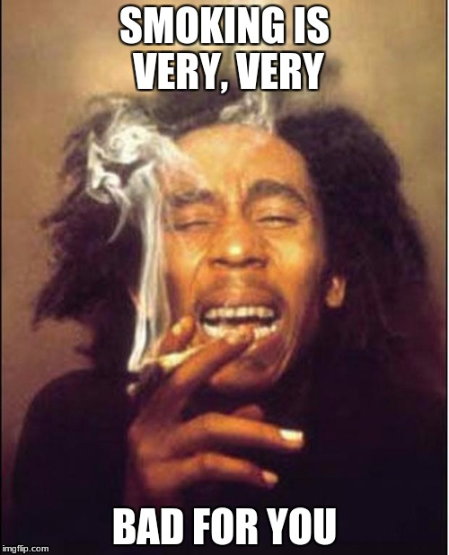 SMOKING IS VERY, VERY BAD FOR YOU | image tagged in bob marley logic | made w/ Imgflip meme maker