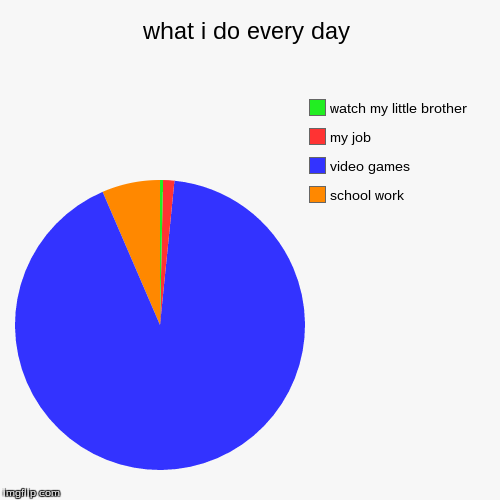 what i do every day | school work, video games, my job, watch my little brother | image tagged in funny,pie charts | made w/ Imgflip pie chart maker