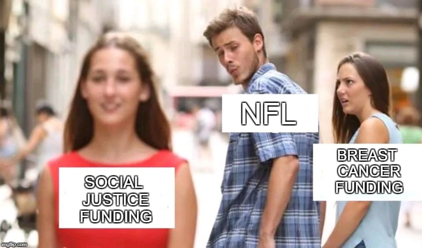Distracted boyfriend | BREAST CANCER FUNDING SOCIAL JUSTICE FUNDING NFL | image tagged in distracted boyfriend | made w/ Imgflip meme maker