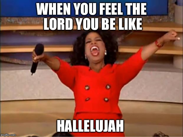 Oprah You Get A Meme | WHEN YOU FEEL THE LORD YOU BE LIKE HALLELUJAH | image tagged in memes,oprah you get a | made w/ Imgflip meme maker