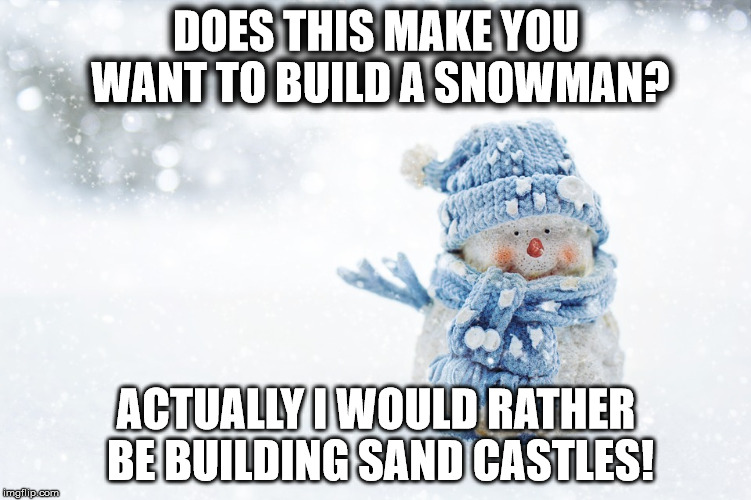 DOES THIS MAKE YOU WANT TO BUILD A SNOWMAN? ACTUALLY I WOULD RATHER BE BUILDING SAND CASTLES! | image tagged in snowman | made w/ Imgflip meme maker