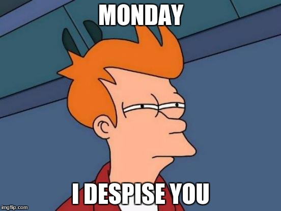 Futurama Fry Meme | MONDAY I DESPISE YOU | image tagged in memes,futurama fry | made w/ Imgflip meme maker