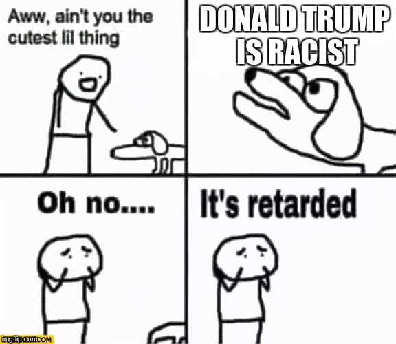 Oh no it's retarded! | DONALD TRUMP IS RACIST | image tagged in oh no it's retarded | made w/ Imgflip meme maker